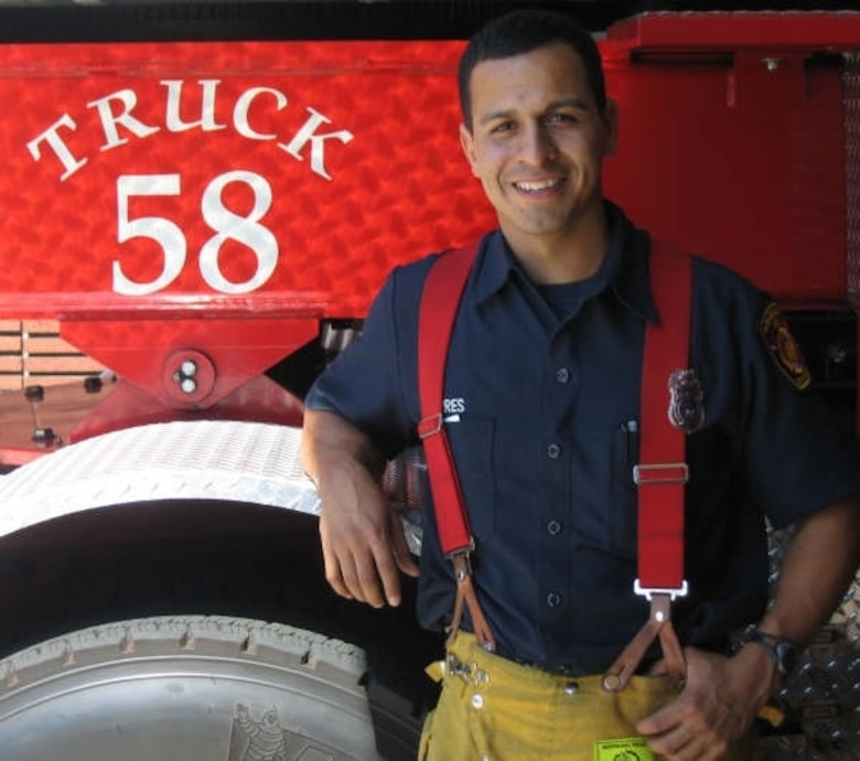 Air Force Reserve Capt. Ruben Torres, a firefighter with the Los Angeles Fire Department, was involved in battling the recent Southern California wildfires.
