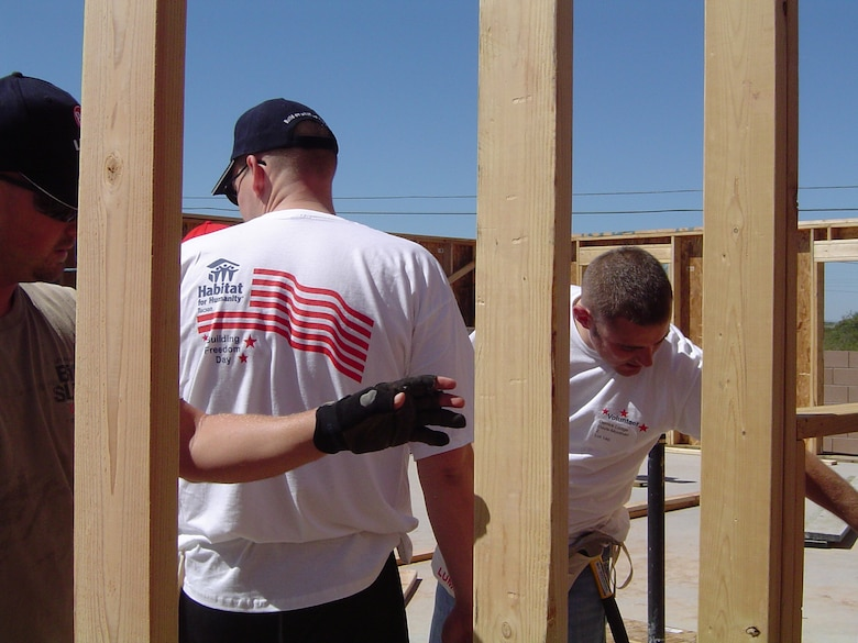 Davis-Monthan Air Force Base supports Habitat for Humanity throughout the year. Each year Habitat for Humanity conducts a special build commemorating 9/11 - Building for Freedom Day. This year 40 D-M volunteers joined community volunteers on this very special day. Volunteers framed, enclosed and raised the roof trusses on seven homes. (Courtesy photo)