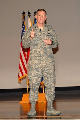 Lt. Gen. Bruce Wright, U.S. Forces Japan and 5th Air Force commander, speaks to the field grade officers and senior enlisted leaders of all four services at a forum Sept. 27.