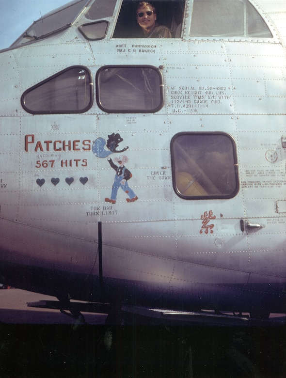 Patches' nose art near the end of its service in Southeast Asia. Someone has humorously written the number of misses above the number of hits. (U.S. Air Force photo)