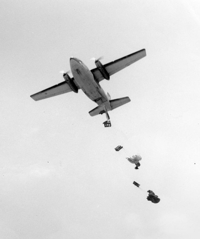 C-123B dropping ammunition to forward-deployed troops in South Vietnam in 1966. (U.S. Air Force photo)