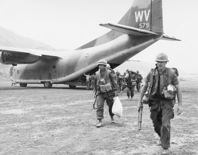 Provider unloading U.S. Marines at Calu, South Vietnam. On this airlift, 13 C-123s delivered 475 troops and over 12,000 lbs of equipment. (U.S. Air Force photo)