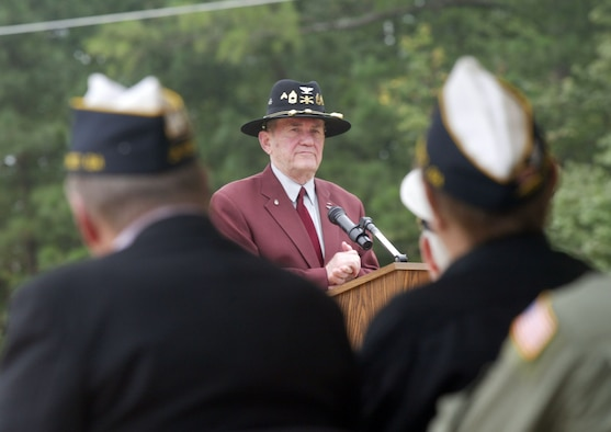Retired Army Col. Bill Richardson, a POW from the Korean War, spoke at Dobbins' POW/MIA Park annual living memorial ceremony, where a plaque was dedicated to honor POW/MIAs from that war. (U.S. Air Force photo/Don Peek)
