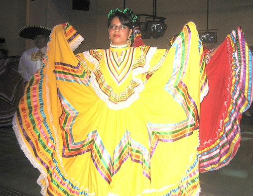 Mexican Folklorico dancers perform at the kick off event for Hispanic Heritage Month at the Ramstein Enlisted Club Sept. 14.