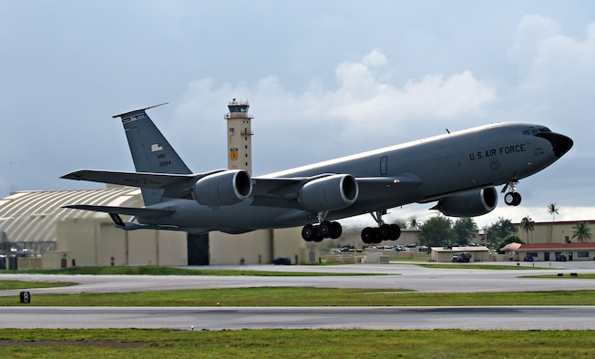This KC-135R, deployed from the 121st Air Refueling Wing in Rickenbacker, Ohio, takes off for an aerial refueling mission from Andersen Air Force Base, Guam. The Ohio based Airmen are here to support the continuous bomber presence in the Western Pacific and give Air Force airframes their global reach capability. These Airmen will stay here longer than the normal tanker aircraft rotation and plan to use the time to train and enhance their war fighting capabilities. (Air Force Photo/Senior Master Sgt. Rasouliyan)