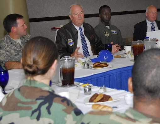 Secretary of the Air Force Michael W. Wyne addresses Andersen Airmen at a luncheon held in his honor. Andersen AFB was the first stop in Secretary Wyne's tour of the U.S. Bases in the Pacific Air Force. (U.S. Air Force photo/Airman 1st Class Daniel Owen)