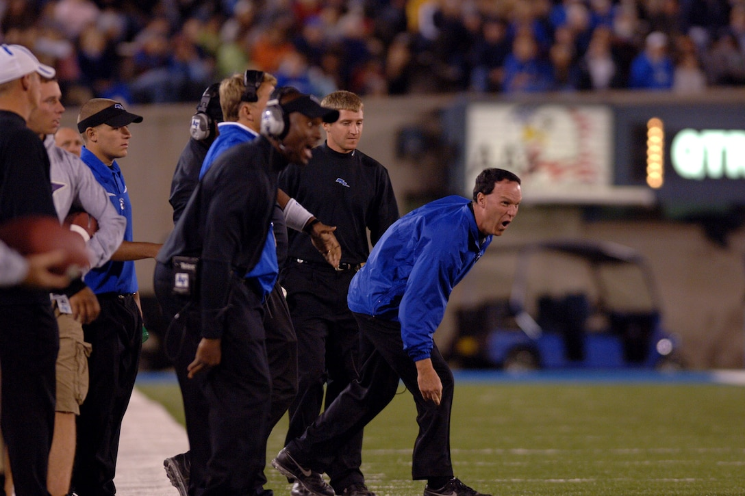 Air Force head coach Troy Calhoun emphasizes a point from the sideline during the Falcons 31-14 victory over UNLV Oct. 6 at Falcon Stadium. The first-year coach has guided the bluesuiters to 4-2 overall and 3-1 Mountain West Conference records in 2007. (U.S. Air Force photo/Dave Armer)