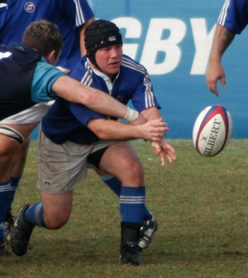 CANNON AIR FORCE BASE, N.M. - 2nd Lt. Daniel Griffin, 27th Special Operations Civil Engineering Squadron, tries to get his hands on the ball during a rugby game. Lieutenant Griffin is playing on the Air Force rugby team in the upcoming Armed Forces 2007 rugby tournament at Camp Lejeune, N.C. (Courtesy photo)