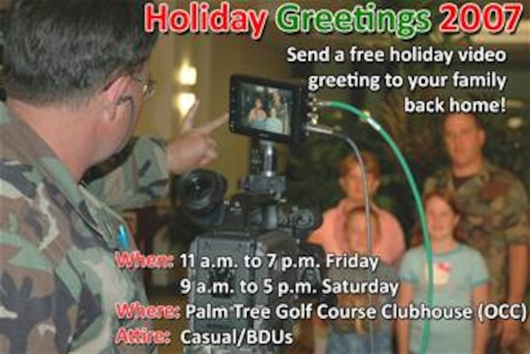 The Holiday Greetings team is coming to Andersen again, and all Team Andersen members are invited to participate. People will record short holiday messages, and the team will send them to their friends and family's local TV stations back home.