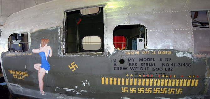 """DAYTON, Ohio (07/2007) -- The B-17F """"Memphis Belle"""" in restoration at the National Museum of the U.S. Air Force. The aircraft is being stripped to bare metal. (Photo courtesy of Craig Scaling, Airshow Traveler)"""