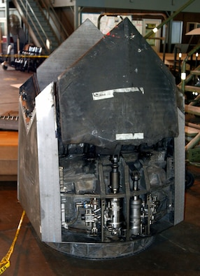 DAYTON, Ohio (07/2007) -- F-22A Raptor thrust vector engine in the National Museum of the U.S. Air Force's restoration hangar. (Photo courtesy of Craig Scaling, Airshow Traveler)