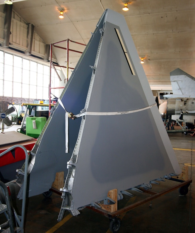 DAYTON, Ohio (07/2007) -- F-22A Raptor tail fins in the National Museum of the U.S. Air Force's restoration hangar. (Photo courtesy of Craig Scaling, Airshow Traveler)