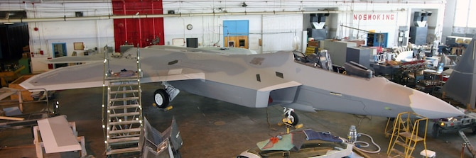 DAYTON, Ohio (07/2007) -- F-22A Raptor in the National Museum of the U.S. Air Force's restoration hangar. (Photo courtesy of Craig Scaling, Airshow Traveler)