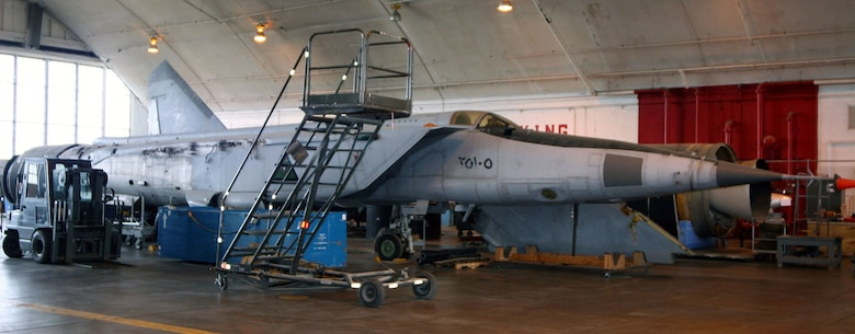 DAYTON, Ohio (07/2007) -- MiG-25 in the restoration area at the National Museum of the U.S. Air Force. (Photo courtesy of Craig Scaling, Airshow Traveler)