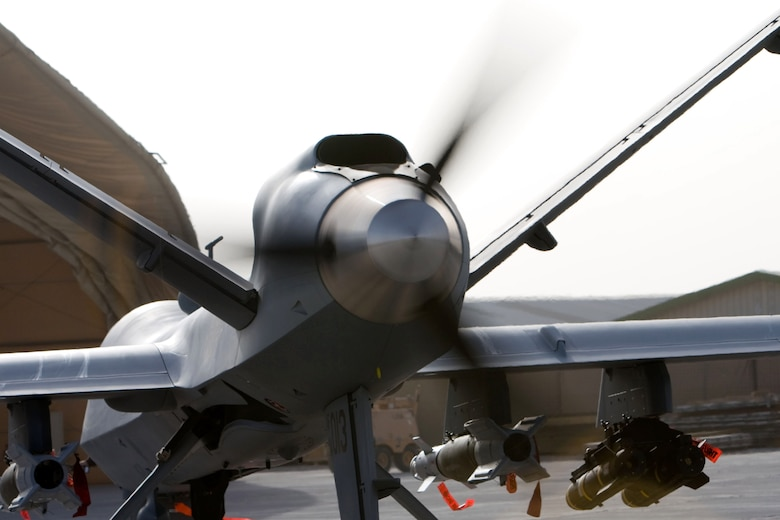 An MQ-9 Reaper goes through an engine check on a ramp in Afghanistan Oct. 1. (Courtesy photo)