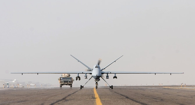 An MQ-9 Reaper takes off on a mission in Afghanistan Oct. 1. The MQ-9 has nearly nine times the range, can fly twice as high and carries more munitions than the MQ-1 Predator. (Courtesy photo)