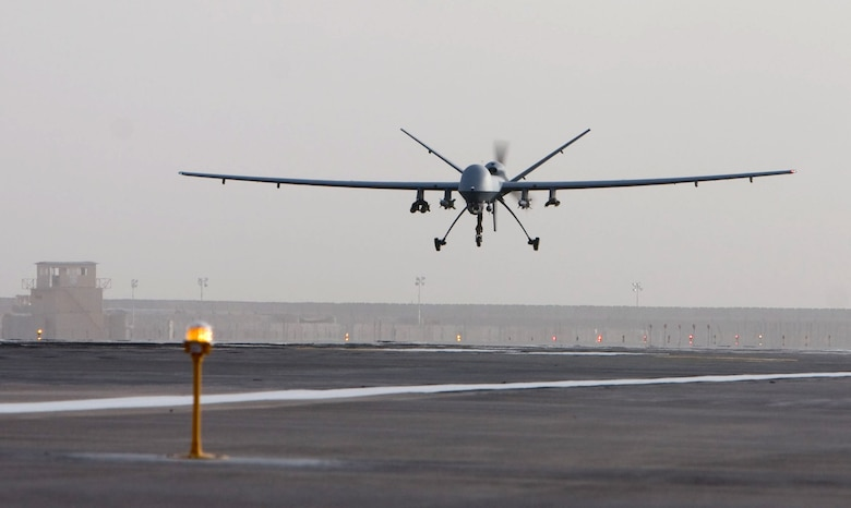 An MQ-9 Reaper takes off on a mission in Afghanistan Oct. 1. The Reaper has completed 12 missions since its inaugural flight there Sept. 25. (Courtesy photo)