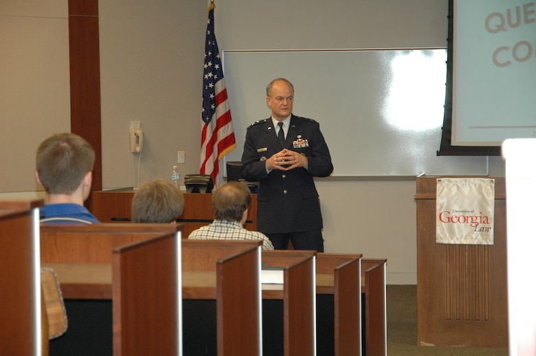 Maj. Gen. Jack L. Rives, the Judge Advocate General of the Air Force, speaks to a group of nearly 75 at the University of Georgia Law School.  General Rives, a UGA alumni, came to the area as part of Air Force Week Atlanta.