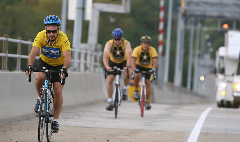Mr. Dale Weaver takes on the Coleman Bridge Oct. 5 during the Wounded Warrior Unity Tour bike ride, which began at Fort Eustis, Va., and ended at Walter Reed Medical Center, Washington, D.C., Oct. 6, where cyclists from each of the armed services showed their support for wounded and fallen warriors. (U.S. Army photo/Staff Sgt. William Pupplo)