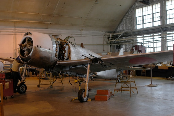 """DAYTON, Ohio (10/2007) -- The Kawanishi N1K2-J """"George"""" is currently undergoing restoration at the National Museum of the United States Air Force. (U.S. Air Force photo)"""