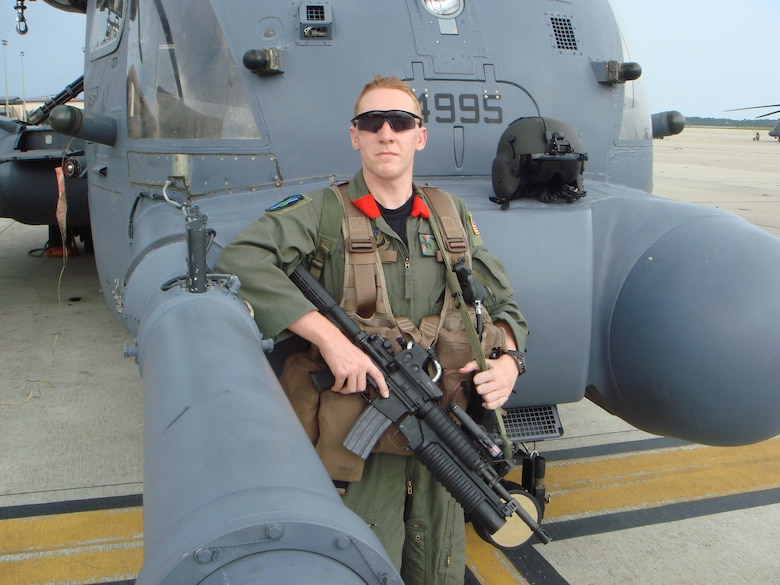 """Staff Sgt. Eric Ezell, 20th Special Operations Squadron aerial gunner, is featured in the second volume of the Air Force Chief of Staff's """"Portraits in Courage"""" book. After recieving a gunshot wound to the head while on a special operations combat mission in 2006, Sergeant Ezell has remained positive and motivated about his service in the Air Force. He is one of 13 Airmen featured in the book."""
