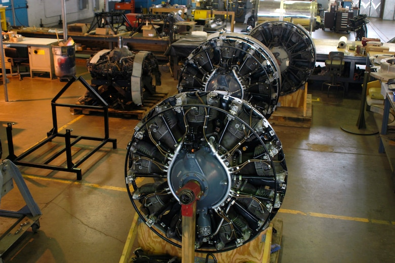 "DAYTON, Ohio (10/2007) -- Wright R-1820-97 turbosupercharged radial engines from the B-17F ""Memphis Belle."" These engines are in the restoration hangar at the National Museum of the U.S. Air Force. (U.S. Air Force photo)"
