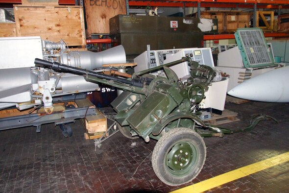 This Soviet-built ZPU-2 14.5mm anti-aircraft gun was captured by Allied forces during Operation Desert Storm. It is composed of two KPV 14.5mm heavy machine guns mounted on a two-wheeled carriage for mobility. Each gun is capable of firing 600 rounds per minute. Note the battle damage bullet holes on the lower part of the gun mount. (U.S. Air Force photo)