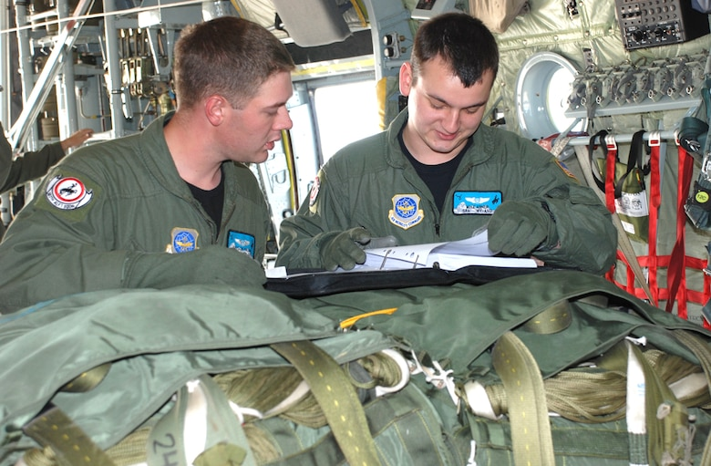 Senior Airman Mike Abner and Senior Airman Bryson Swank, 187th Airlift Squadron, run through pre-flight checklists during cargo pallet drop training Oct. 7.
