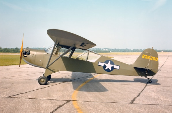 "DAYTON, Ohio -- Aeronca L-3B ""Grasshopper"" at the National Museum of the United States Air Force. (U.S. Air Force photo)"