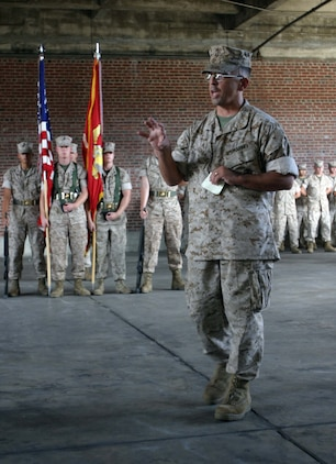 Col. Michael N. Peznola, commanding officer, Marine Special Operations Advisor Group, U.S. Marine Corps Forces, Special Operations Command, talks about the past, present and future of MSOAG during the Group?s two-year anniversary ceremony here, Oct. 19.