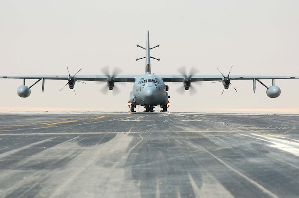 SOUTHWEST ASIA -- An EC-130J Commando Solo aircraft taxis down the runway here Oct. 19.  The EC-130J conducts information operations, psychological operations, and civil affairs broadcasts in AM, FM, HF, TV and military communications bands. (U.S. Air Force photo by Staff Sgt. Tia Schroeder)
