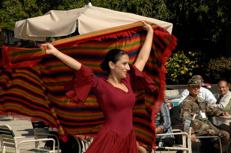 A member of the Otero Dance Company performs a flamenco dance at the Hispanic Heritage Celebration held, Oct. 18. (Photo by Lou Hernandez)