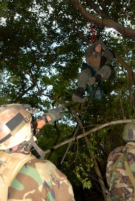 "Two PJ's from the 31st Rescue Squadron throw a rope over a tree branch in attempt to rescue 1st Lt. Alan ""Hawk"" Schulenberg, 44th Fighter Squadron, during an exercise on proper life saving procedures at Kadena Air Base, Japan, Oct. 23, 2007. In the exercise PJ's attempted the recovery of a pilot who ejected from his aircraft and was stuck in the jungle with injures. The scenario was part of Local Operational Readiness Exercise Beverly High 08-1. (U.S. Air Force photo/Airman 1st Class Ryan Ivacic)"