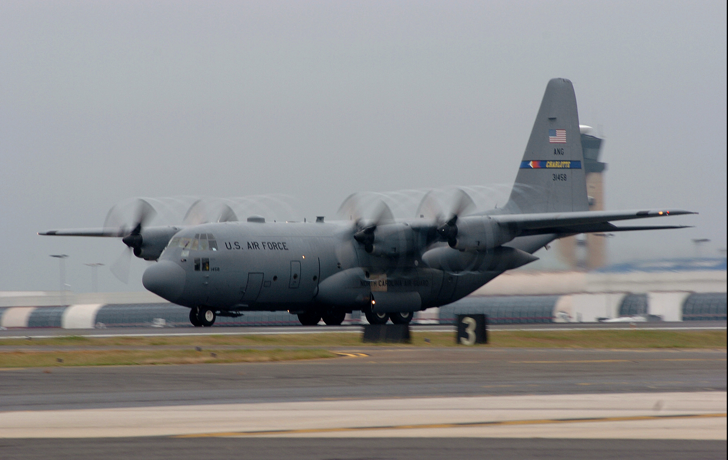 A U S  Air Force C-130 Hercules aircraft from the 145th Airlift Wing
