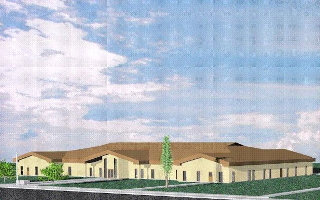 An artistic view of the new 507th ARW/137th ARW Consolidated Squadron Operations building, scheduled for construction in FY 2008, pending congressional funding.