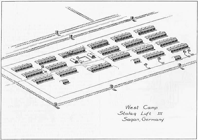 A sketch of the west compound at Stalag Luft III, one of six compounds used to hold allied prisoners of war. More than 10,000 officer Airmen, including more than 6,800 American officers, were held at the camp until the Russian push into eastern Germany forced an evacuation of the prisoners by foot at midnight on Jan. 28, 1945 during a blizzard. The German Luftwaffe personnel running the camp were determined to prevent the liberation of the highly-trained Airmen by the rapidly advancing Russian Army and forced the prisoners to walk more than 62 miles in six days to other POW  camps.  (Courtesy of the Bob Neary Estate)