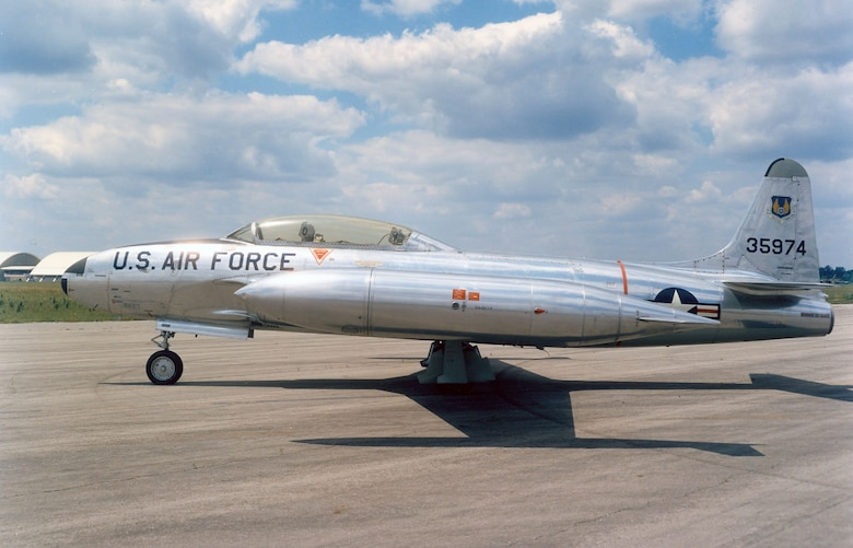 DAYTON, Ohio -- Lockheed T-33A Shooting Star at the National Museum of the United States Air Force. (U.S. Air Force photo)