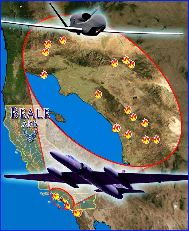 The 9th Reconnaissance Wing's U-2 and Global Hawk surveillance and reconnaissance aircraft from Beale Air Force Base, Calif., have been tasked to collect high-altitude imagery of the wildfires in Southern California. (U.S. Air Force illustration)