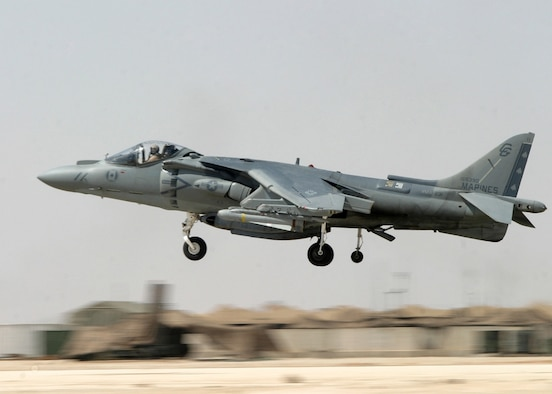 IRAQ - An AV-8B Harrier with Marine Fighter Attack Squadron 231 takes off on a combat mission from Al Asad Air Base in support of Operation Iraqi Freedom.  (U.S. Marine Corps photo by Sgt. Maryalice Leone, Released)
