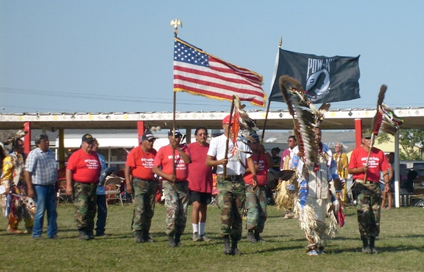 ROSEBUD, S.D. -- Tribal veterans perform a ceremonial dance during the 459th Aerospace Medicine Squadron?s visit to  Rosebud, S.D., in August. (Courtesy photo)