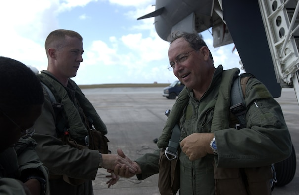 ANDERSEN AIR FORCE BASE, Guam - Lt. Gen. David Deptula (right), formerly the Kenny Warfighting Headquarters commander, last visited Andersen on April 24, 2006. The general is the guest speaker at the Air Force 60th Anniversary Ball which will be held Saturday at Hilton Guam Resort and Spa. (U.S. Air Force Photo)