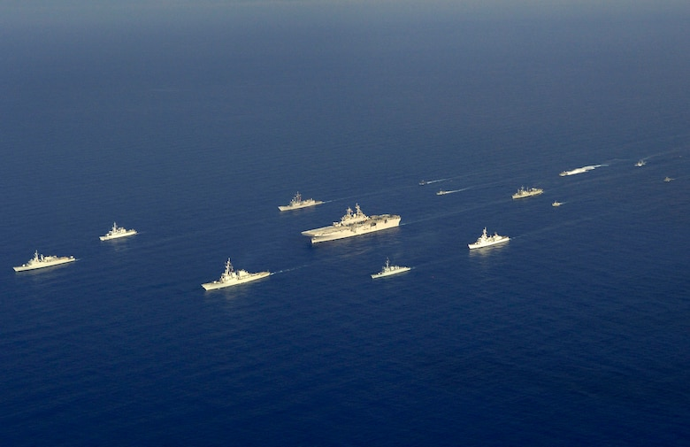Ships from U.S. and other nations take part in a photo exercise (PHOTOEX) off the atlantic coast of Panama Friday during PANAMAX 2007. Civil and military forces from 19 countries will participate in PANAMAX, a U.S. Southern Command joint and multi-national training exercise co-sponsored with the Government of Panama, in the waters off the coasts of Panama and Honduras. U.S. photo by Mass Communication Specialist 2nd Class Todd Frantom