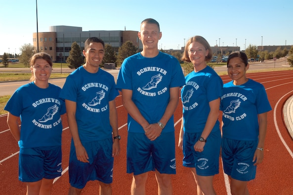 SCHRIEVER AIR FORCE BASE, Colo. -- The members of the Schriever Running Club will compete in the Air Force Marathon Sept. 15 at Wright-Patterson Air Force Base, Ohio. They are (from left): Nicole Fleming of the 50th Contracting Squadron, Carlos Nivia of the 4th Space Operations Squadron, Alan Burwell of 2nd SOPS, Julie Warren of 4th SOPS and Katherine Portillo of 3rd SOPS. Not pictured but also competing will be Caitlin Diffley of 2nd SOPS. (U.S. Air Force photo/Staff Sgt. Don Branum)