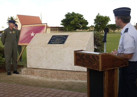 ANDERSEN AIR FORCE BASE, Guam - Brig. Gen. Doug Owens, 36th Wing commander, was the guest speaker at Andersen's plaque rededication ceremony held at 4:45 p.m. today at the 36th WG Headquarters Building.  The base held the rededication ceremony to unveil the original plaque that named Andersen after its namesake Brig. Gen. Roy Andersen.  General Andersen was a former chief of staff of the Army Air Forces in the Pacific who died in an aircraft accident over the Pacific Ocean in 1945.  The plaque was originally dedicated in 1949 when North Field was renamed Andersen Air Force Base. The event was one of many held during Guam's Air Force Week to honor the Air Force's 60th Anniversary. (Photo by Senior Airman Sonya Padilla/ 36th Wing Public Affairs)