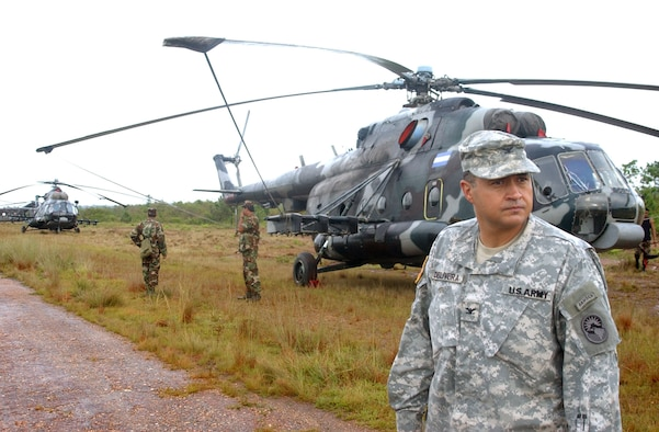 Col. Marcus De Oliveira, commander of Joint Task Force-Bravo, surveys the situation at Puerto Cabezas International Airport.  Colonel De Oliveira is tasked with coordinating U.S. Department of Defense relief efforts in Puerto Cabezas in the wake of Hurricane Felix. U.S. Air Force photo by 1st Lt. Ericka Yepsen.