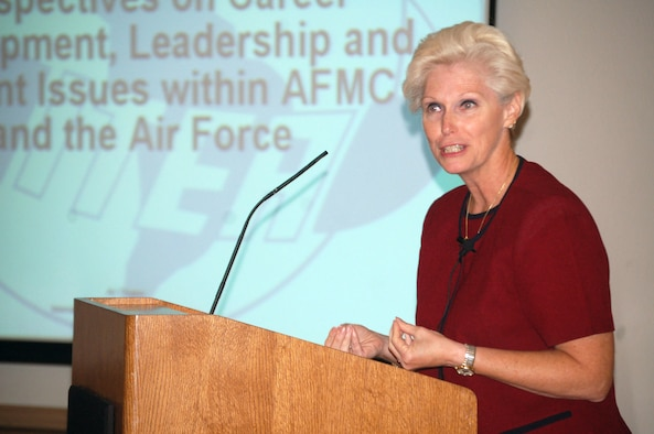 Barbara Westgate, Air Force Materiel Command executive director, gives her speech during an International Test and Evaluation Association Antelope Valley Chapter's monthly meeting at Club Muroc here Sept. 5. Some of the subjects Mrs. Westgate talked about were recapitalization, increasing cost of military health care and the new permanent change of station guidelines. (Photo by Airman 1st Class Julius Delos Reyes)
