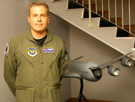 """Capt. Chris Saettel, 100th Operations Support Squadron executive officer, shown here, says of 9/11, """"I think the effect that the terrorists wanted to have is for our society to collapse; they wanted to cause mass chaos and panic. Instead, it galvanized our country – the next day, there were flags and signs of patriotism everywhere. It brought the country together. I think if anything, the remembrance of 9/11 helps to instill that patriotic feeling again. We need to keep that strong."""" (U.S. Air Force photo by Karen Abeyasekere)"""