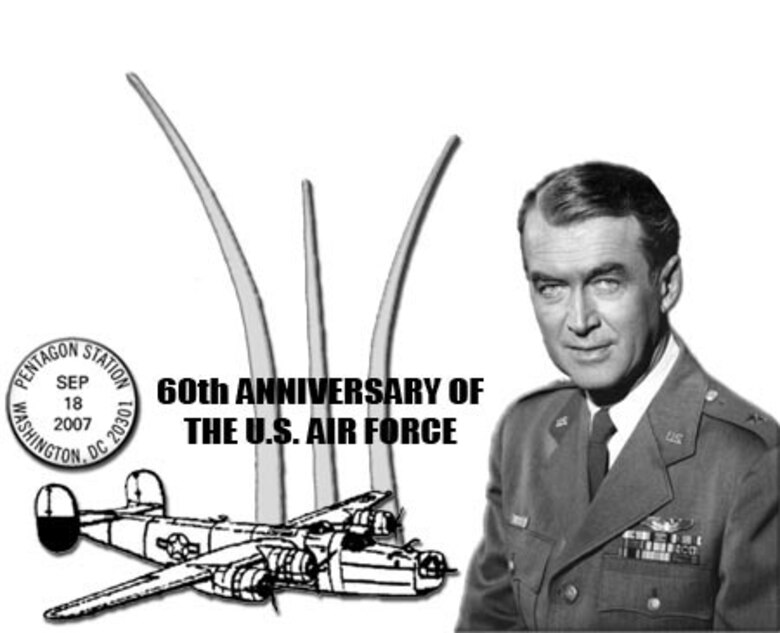 "The U.S. Postal Service will commemorate the Air Force's 60th Anniversary with a special postmark Sept. 18 to Oct. 18. The post office also offers a special edition postage stamp honoring Brig. Gen. James ""Jimmy"" Stewart, a World War II pilot and Hollywood actor. (U.S. Air Force graphic/Master Sgt. Franz Ramsey)"