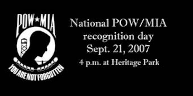 SEYMOUR JOHNSON AIR FORCE BASE, N.C. - National POW/MIA recognition day, Sept. 21, 4:00 p.m. at Heritage Park.