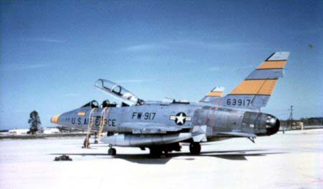 A F-100 Super Sabre sits on the flightline at Homestead Air Force Base, Fla. The Super Sabre transferred to Aviano Air Base, Itlay, in 1994. (Courtesy photo)